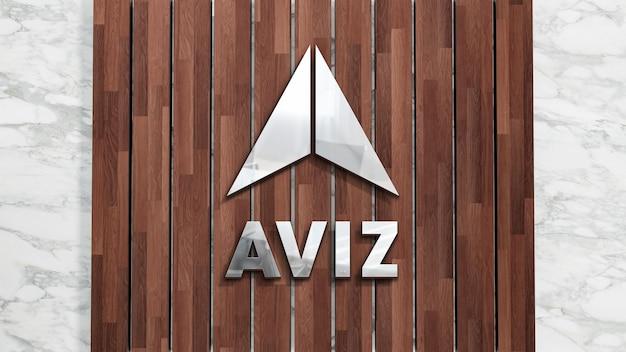 Realistische zeichen-holzplanke des 3d-logo-modells auf weißer wand