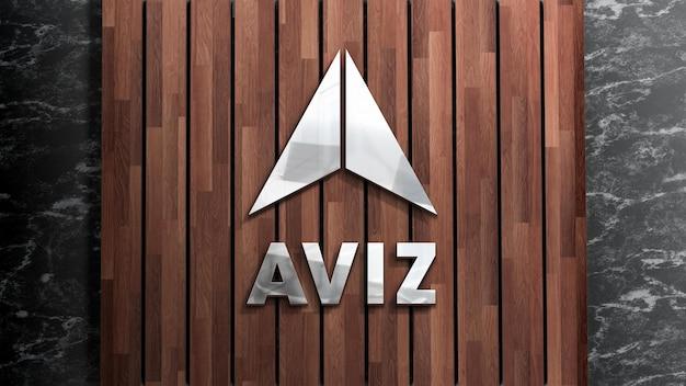 Realistische zeichenholzplanke des 3d-logo-modells auf schwarzer wand