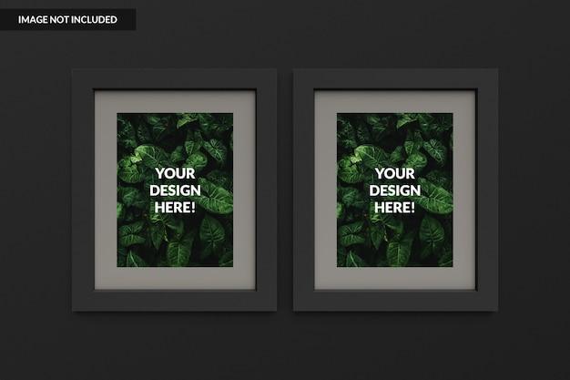 Realistische zwei bilderrahmen Premium PSD