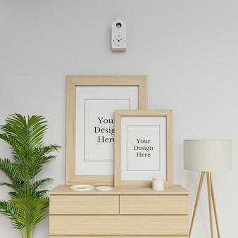 Realistische zwei plakat-rahmen-modell-design-schablone, die porträt in skandinavien-innenraum sitzt