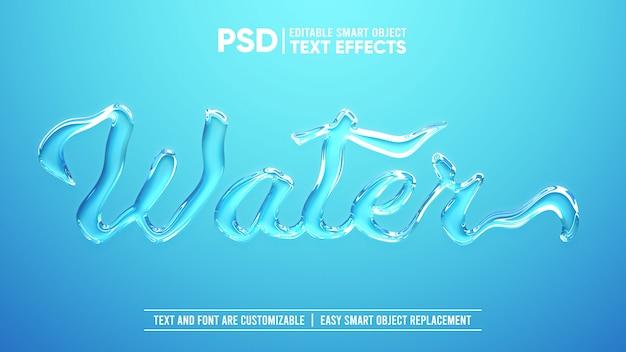 Realistischer 3d-bearbeitbarer smart object-texteffekt mit klarem wasser