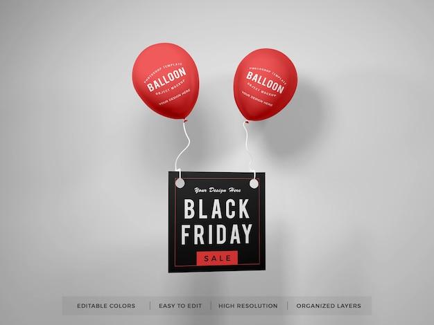Realistischer ballon mit promotion-flyer-modell