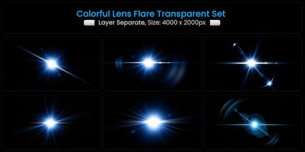 Realistischer bunter lens flare mit abstrakter linsenlichter-kollektion