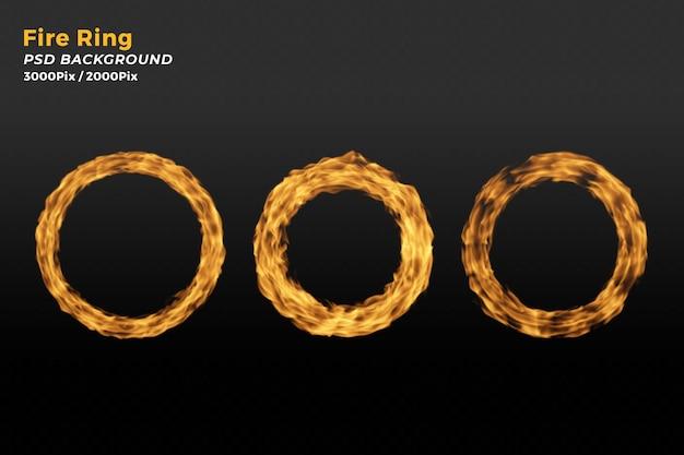 Realistischer feuerring mit flammen