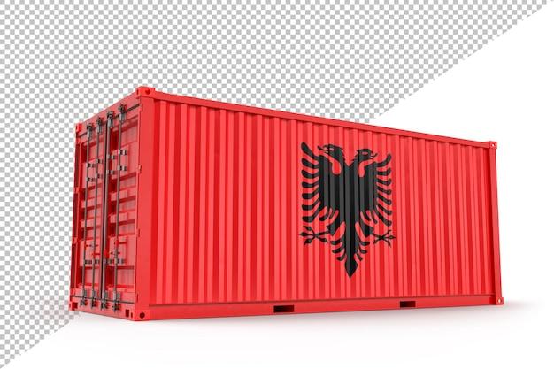 Realistischer frachtcontainer mit flagge albaniens. isoliert. 3d-rendering