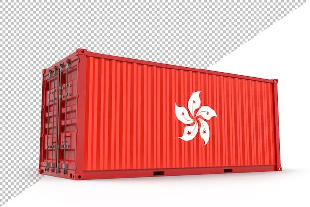 Realistischer frachtcontainer mit textur der flagge von hongkong. isoliert. 3d-rendering