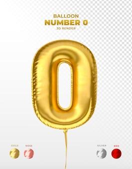 Realistischer goldfolienballon der nummer 0 abgeschnitten