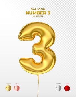 Realistischer goldfolienballon der nummer 3 abgeschnitten
