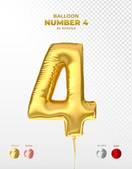 Realistischer goldfolienballon der nummer 4 abgeschnitten