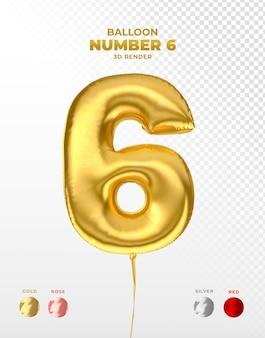 Realistischer goldfolienballon der nummer 6 abgeschnitten