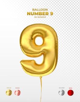 Realistischer goldfolienballon der nummer 9 abgeschnitten