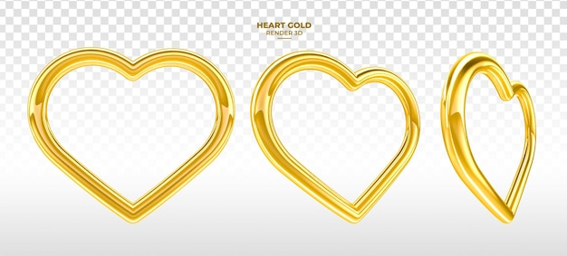 Realistischer goldherz 3d rendern für valentinstag