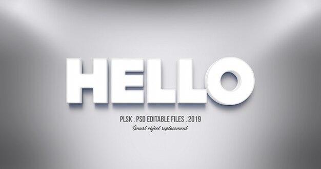 Realistischer hallo 3d-texteffekt
