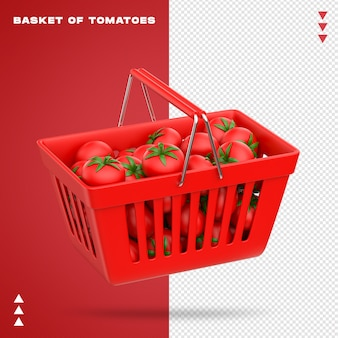 Realistischer korb von tomaten