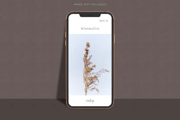 Realistischer mobiler smartphone-mockup-szenenersteller mit schattenüberlagerung. vorlage für die gestaltung der globalen business-website-design-app für die markenidentität