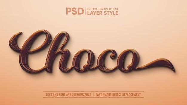 Realistischer smart object layer-effekt aus dunkler schokolade