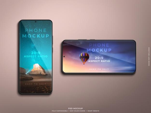 Realistischer smartphone-modellporträt- und querformatmodus