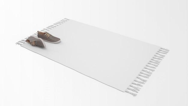 Realistischer weißer teppich mit einem paar schuhen