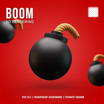 Realistisches 3d-bombensymbol