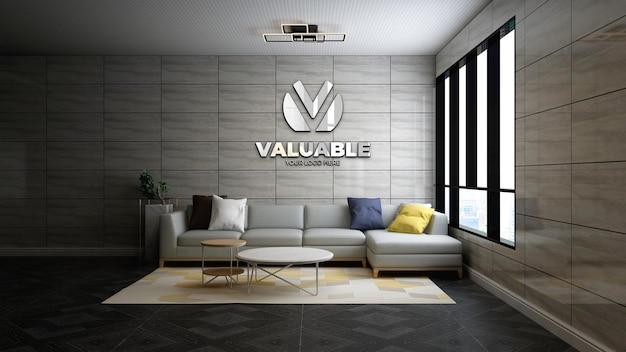 Realistisches 3d-firmenlogomodell im modernen wartezimmer der bürolobby
