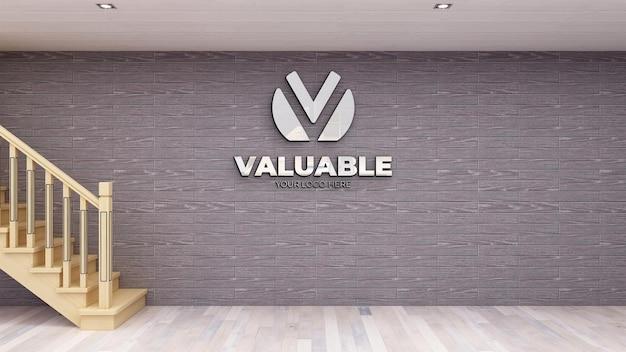Realistisches 3d-logo-modell am arbeitsplatz mit backsteinmauer