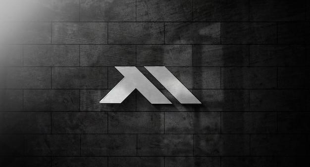 Realistisches 3d-logo-modell an der wand