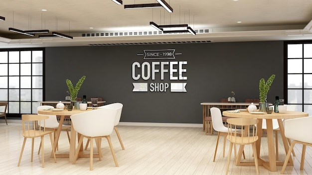 Realistisches 3d-logo-modell der wand im modernen café-bar-innenraum