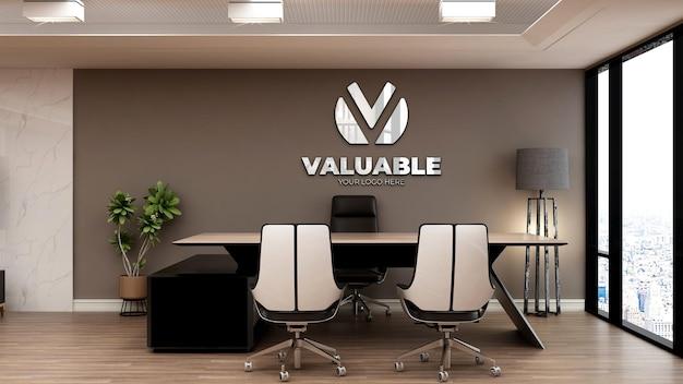 Realistisches 3d-logo-modell im bürogeschäftsführerraum mit brauner wand