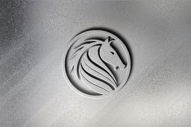 Realistisches 3d-logo-modelldesign in der wand
