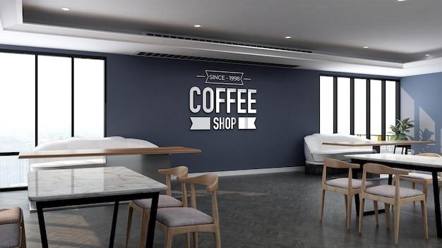 Realistisches 3d-logo-wandmodell im bürorestaurantraum