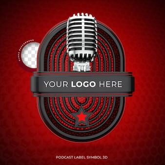 Realistisches 3d-podcast-logo mit mikrofon-rendering Premium PSD