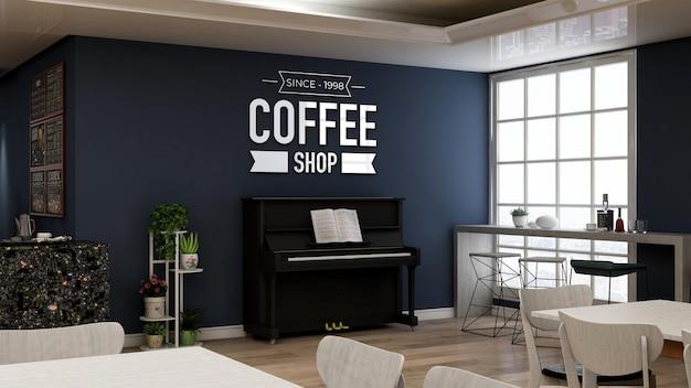 Realistisches 3d-wandlogo-modell im café mit klavier