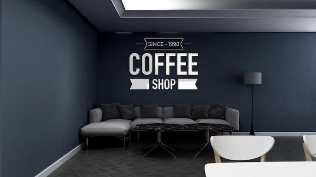 Realistisches 3d-wandlogo-modell im café mit sofa