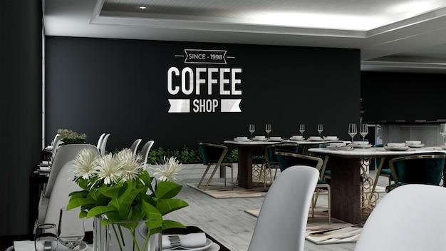Realistisches 3d-wandlogo-modell im café