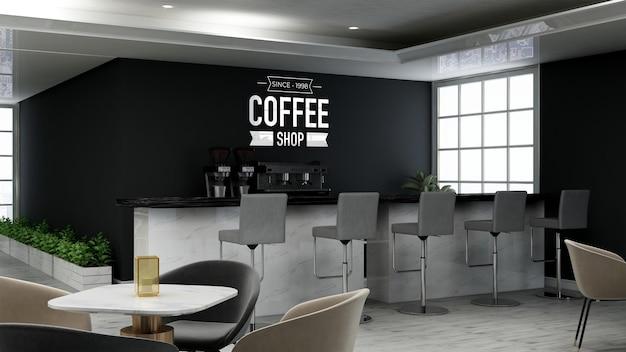 Realistisches 3d-wandlogo-modell im modernen café-bar-innenraum