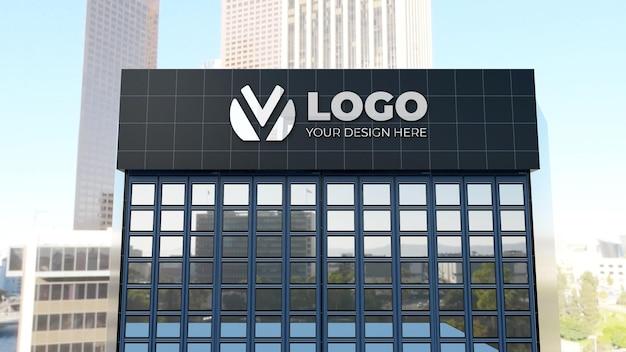 Realistisches 3d-zeichenlogo-modell auf geschäftsunternehmensgebäude