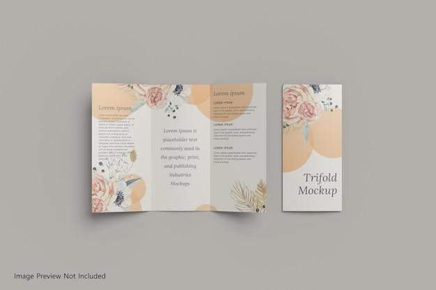 Realistisches a4 dreifach gefaltetes broschürenmodell 3d-rendering