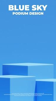 Realistisches blaues produktpodest 3d-rendering