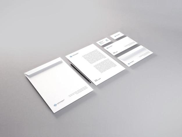 Realistisches briefpapier-set-modell