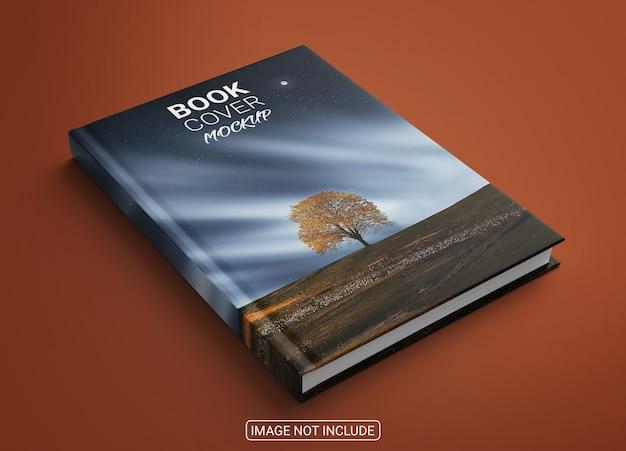 Realistisches buch hardcover-modell auf hellrotem hintergrund