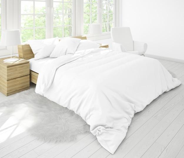 Realistisches doppelzimmer mit möbeln und großen fenstern