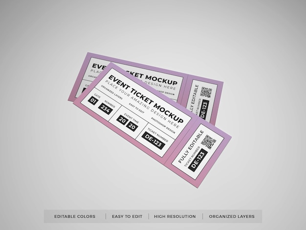 Realistisches event ticket mockup