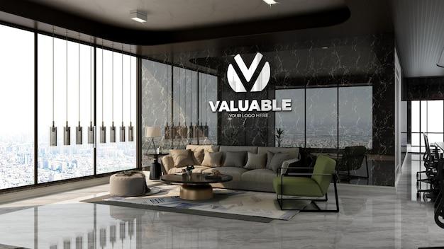 Realistisches firmenlogo-modell im wartezimmer der bürolobby