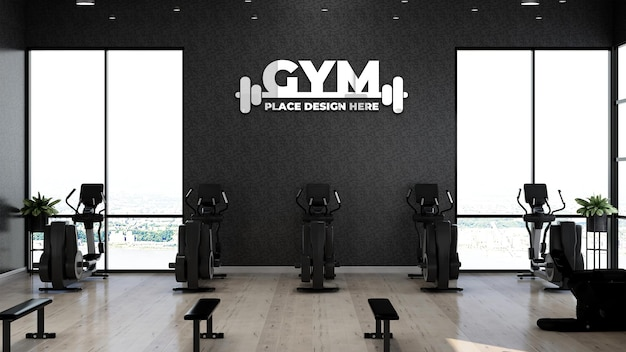 Realistisches fitnessstudio-logo-modell im fitnessbereich für sportlerübungen