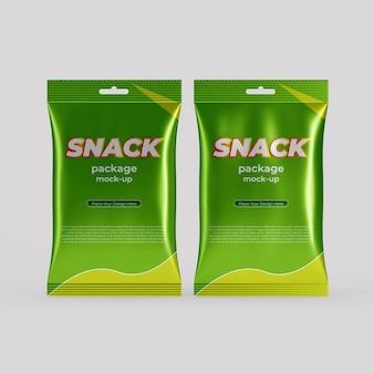 Realistisches folien-snackbeutel-verpackungsmodell