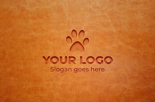 Realistisches graviertes logo-mockup in lederoptik Premium PSD