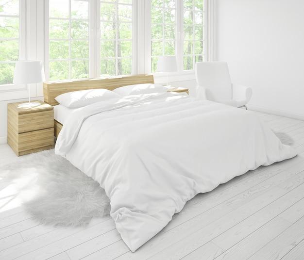 Realistisches helles doppelschlafzimmermodell