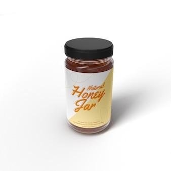 Realistisches honigglasglasmodell vorderseite isoliertes objektmodell