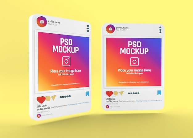 Realistisches instagram-post-modell für soziale medien