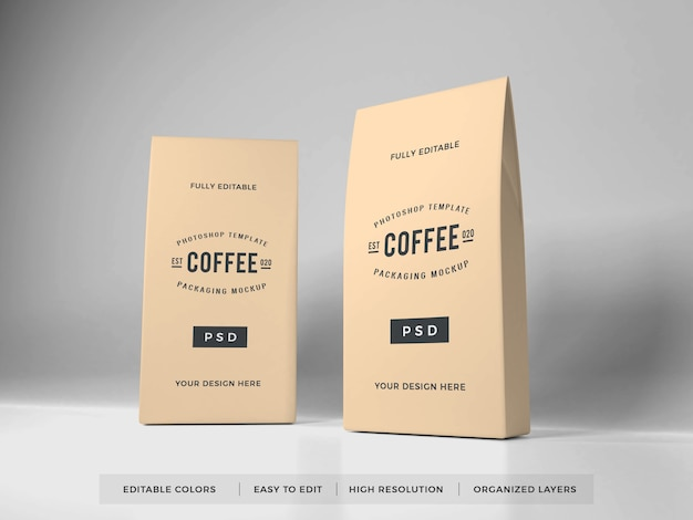 Realistisches kaffeeverpackungsmodell